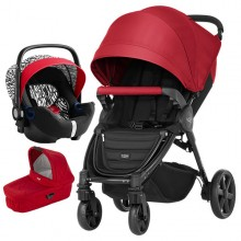 Britax Römer - Trio B-Agile 4 Plus i-Size Bundle - Flame Red/Letter Design '2019