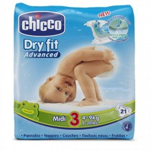 Chicco - Fraldas Dry Fit Advanced T.3 Midi 21Uni