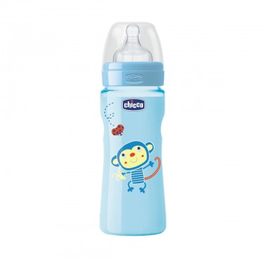 Chicco - Biberão Well-Being Colorido 250ml Azul +2M