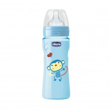 Chicco - Biberão Well-Being Colorido 330ml Azul +4M