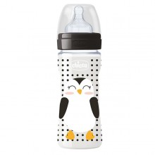 Chicco - Biberão Well-Being POP FRIENDS Pinguim 330ml +4M